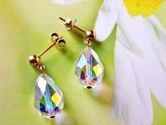 Vintage 12K Gold Filled Aurora Borealis Crystal Briolette Drop Pierced Earrings, Wedding, Bride, Prom, Formal Jewelry by dazzledbyvintage on Etsy