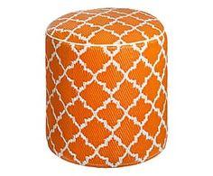 Pouf in/outdoor in polipropilene Tammy, bianco/arancione - 45x50 cm