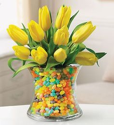 Tulips and Jelly beans 2019 Order Tulips and Jelly beans available for LOCAL delivery only from DONNA'S FLORIST & GIFTS Bristol CT Florist & Flower Shop. The post Tulips and Jelly beans 2019 appeared first on Floral Decor. Deco Floral, Arte Floral, Floral Design, Easter Brunch, Easter Party, Easter Food, Easter Eggs, Vases En Verre Transparent, Easter Flowers