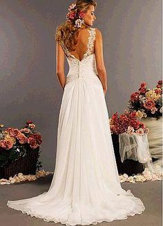 Elegant Chiffon Ivory Lace Wedding Dress - LoveItSoMuch.com I like the back =)