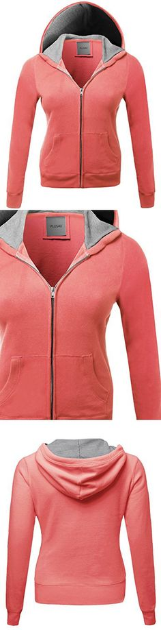 Generic Womens Active Front-Zip Long Sleeve Hoodie Stripe Sweatshirt Jackets
