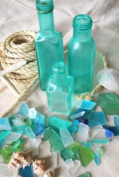diy sea glass. - perhaps for the chandelier? I wonder how it will hold up to heat...