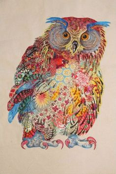 My Owl Barn: Sophie Standing: Textile Embroidery Art - something like this would look great made from actual feathers and frayed materials etc.