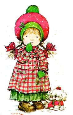a postcard by Sarah Kay, published by Paperitaide, from the year 1978 Sarah Key, Very Merry Christmas, Christmas Art, Christmas Drawing, Clipart, Illustrations, Illustration Art, Holly Hobbie, Christmas Illustration