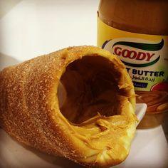 Gustosoksa's photo on Instagram. Kurtoskalacs - Chimney cake - Trdelnik - Kurtosh - Baumstriezel - peanut butter - www.kurtos-kalacs.com