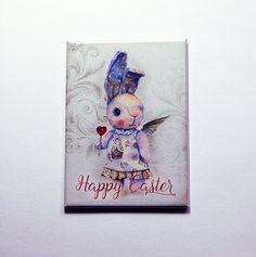 Easter Magnet, Easter Bunny Magnet, Kitchen magnet, ACEO, Fridge magnet, Easter gift, Bunny, Rabbit, easter card, easter bunny (7138) by KellysMagnets on Etsy