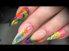 Acrylic nails - neon design set with glitter Black Nail Polish, Black Nails, Red Nails, Rainbow Makeup, Rainbow Nails, Neon Design, Design Set, Magical Makeup, Creative Makeup