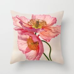 Like Light through Silk - peach / pink translucent poppy floral Throw Pillow by Micklyn - $20.00