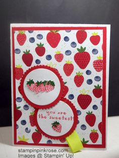 Stampin' Up! Thinking of You card made with Fruit Bowl stamp set and designed by Demo Pamela Sadler.   Tell someone how sweet they are for what they did. See more cards at stampinkrose.com and etsycardstrulyheart