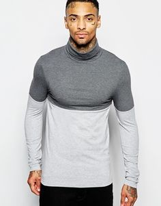 ASOS Extreme Muscle Long Sleeve T-Shirt With Roll Neck And Colour Block