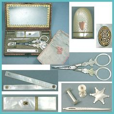 Antique Mother Of Pearl Palais Royal Sewing Set * C1810