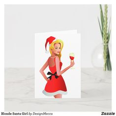 Blonde Santa Girl Holiday Card Holiday Cards, Christmas Cards, Photography Website, Dog Design, Adulting, Age, Unisex, Paper Texture, Kids Shop