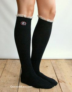 Lacey Fan UNIVERSITY OF GEORGIA Boot Socks cable by GraceandLaceCo, $35.00 - LOVE the black!