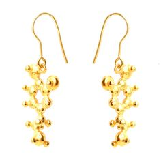 https://www.cityblis.com/2069/item/12653 | *New* Dopamine Earrings - Gold Plated - $137 by Emily Alice | Each of these gold plated earrings are a representation of the molecule dopamine. Dopamine is all about desire and pleasure, and these earrings are sure to cause that feeling when they are received and worn!  It is said that dopamine is involved in the process that addicts us to each other.  In ... | #Earrings