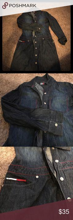 Denim Shirt Dress (Tommy Hilfiger) Indigo blue, button down shirt dress with 3 pockets, button cuffs, red stitch detail Tommy Hilfiger Dresses Long Sleeve
