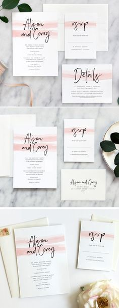 Color Wash Invitation Suite by Fine Day Press - In this romantic watercolor wedding invitation, a delicate wash of color pairs with elegant hand-lettering. Invitation suite is professionally printed on thick cotton stock. Watercolor hue can be customized to match your event.