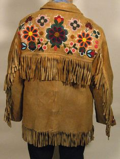Floral Beaded Jacket Back - Annie Halkett Native Beadwork, Native American Beadwork, Beaded Jacket, Natural Foods, Big Project, Sioux, Bead Crafts, Vest Jacket, Beaded Embroidery