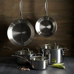Calphalon Tri-Ply Stainless Steel Cookware Set. Starting at $150 on Tophatter.com!