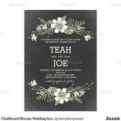 Chalkboard Blooms Wedding Invitations - Customized