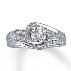 Diamond Engagement Ring 5/8 ct tw Round-cut 14K White Gold