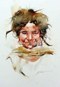 Nepalese girl , Watercolor by Bhira Phokthavi