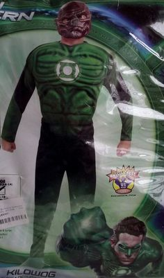 Green Lantern KILOWOG Costume Child Size Large 12-14 Muscle Chest Suit Mask Ring & Darth Maul Star Wars Muscle Chest Child Costume Size Small 4-6 NO ...