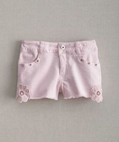 girls crochet pocket shorts