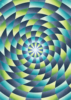 In this picture your attention immediately goes to the centre of the circle, the focal point. And if you look at the focal point the circle moves like an illusion