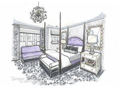 Rendering by Jane Gianarelli for Erika Bonnell Interiors.