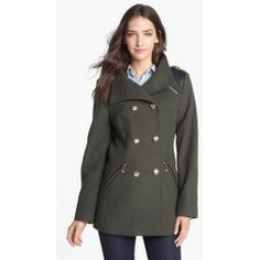 Vince Camuto Wool Blend Military Peacoat X-Large. Faux-leather trim accentuating the shiny goldtone hardware brings vintage military polish to a doubl......[$198.00]