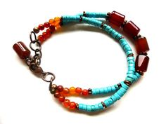 Turquoise, orange agate, carnelian agate, multi strand stone bracelet  made by McKee Jewelry Designs. Love the colours.
