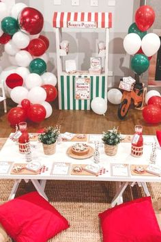 Check out this fun Pizza Parlour Birthday Party! The table settings are so cool! See more party ideas and share yours at CatchMyParty.com #catchmyparty #partyideas #pizza #pizzaparlour #pizzaparty #girlbirthdayparty Birthday Pizza, Twin Birthday Parties, Small Balloons, Helium Balloons, Pizza Menu, Pizza Party, Tent Parties, Cookie Pizza, Play Shop