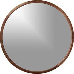 """Cb2 40"""" wood mirror AcaciaLargeRoundWoodMirrorS16"""