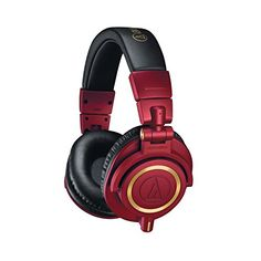 Audio-Technica Professional Studio Monitor Headphones - Red and Gold Circumaural Headphones, Studio Headphones, White Headphones, Sports Headphones, Monitor, Professional Headphones, Top Audio, Red Gold, Headset