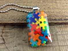 Autism Awareness Pendant, Autism Jewelry, Autism Puzzle Piece Pendant, Resin Pendant, Puzzle Piece, Autism Necklace, Autism Mom, Resin on Etsy, $21.87 CAD