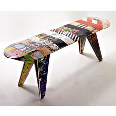 "Broken Skateboards Turned Into Furniture The ""Deckbench"" is an expertly handcrafted bench made from 100% reclaimed and recycled broken skateboards. Skateboard trucks attach the legs to the long seat a"