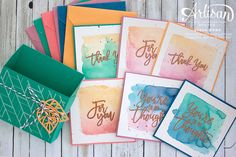 Stampin Up Thoughtful Branches limited edition bundle for August 2016 watercolour set cards by Susan Wong