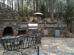 Charlotte Outdoor Kitchen Pictures, Outdoor Fireplace Photos