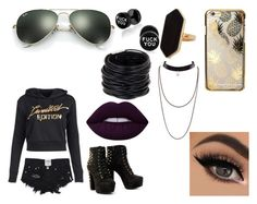 """""""Sierra Jones"""" by hardcoregamergirl on Polyvore featuring Skinnydip, Ray-Ban, Jaeger, Saachi and Lime Crime"""