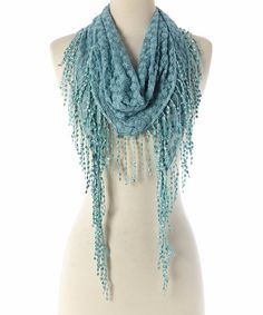 Love this Blue Floral Fringe Scarf by modern centers trade on #zulily! #zulilyfinds