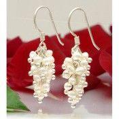 Ohrringe Ohrhänger aus Perlen & 925 Silber Trauben creme weiß Ohrschmuck Damen