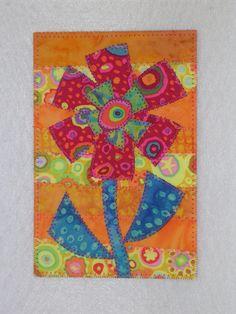 Flower Whimsical Art Quilt Postcard 4 x 6 Bright Colors Applique Patterns, Applique Quilts, Quilt Patterns, Fabric Postcards, Fabric Cards, Small Quilts, Mini Quilts, Machine Applique, Machine Quilting