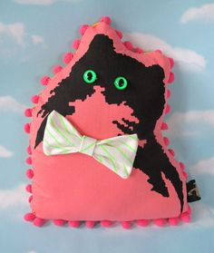 Pink Handsome Kitty Pillow by Joseph Aaron Segal Providence, RI