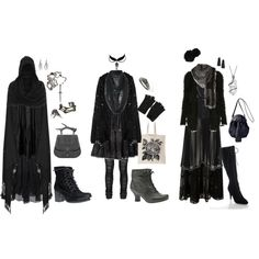 """""""3 Dark Mori looks"""" I wish even half of these outfits I find on Polyvore had legit sites to buy these items from. :/"""