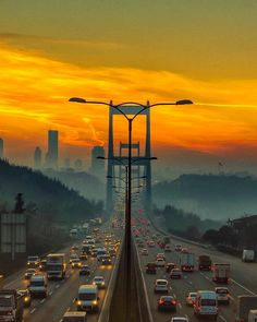 A beautiful sunset serves as a background view for Bosphorus Bridge, where Asia and Europe meet, Istanbul Turkey Places To Travel, Places To Visit, Beautiful Places, Beautiful Pictures, Beautiful Sunset, Cities, Hagia Sophia, City Landscape, Travel Light