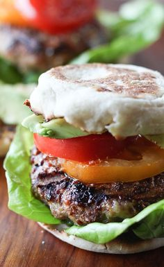 California Style Grilled Turkey Burgers: Kickoff the summer grilling season with these West Coast flavors. Just grill up turkey patties, top them with creamy avocado and your favorite burger toppings before serving between a warm, toasted Thomas' English Muffin. [Promotional Pin]