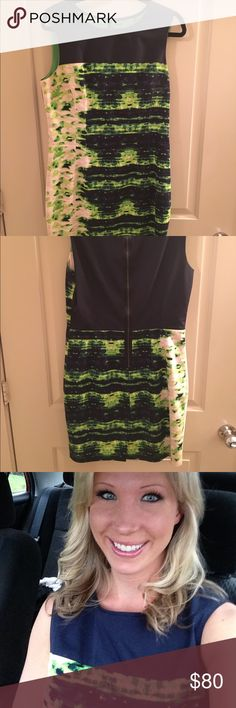Elie Tahari sheath dress This dress is SO versatile! The color makes it fun but it's simple sheath cut makes it appropriate for a variety of different occasions. Size 12, fully lined, hits mid thigh. Elie Tahari Dresses Midi