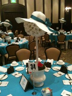 "Fresh flower centerpiece used for the a brunch - ""Hat Off"" to women who inspire women. www.friendsofdprc.com"