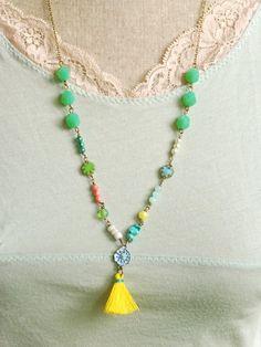 Island girl. long bohemian colorful tassel by tiedupmemories