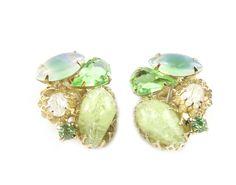 House of Lavande Green button earrings